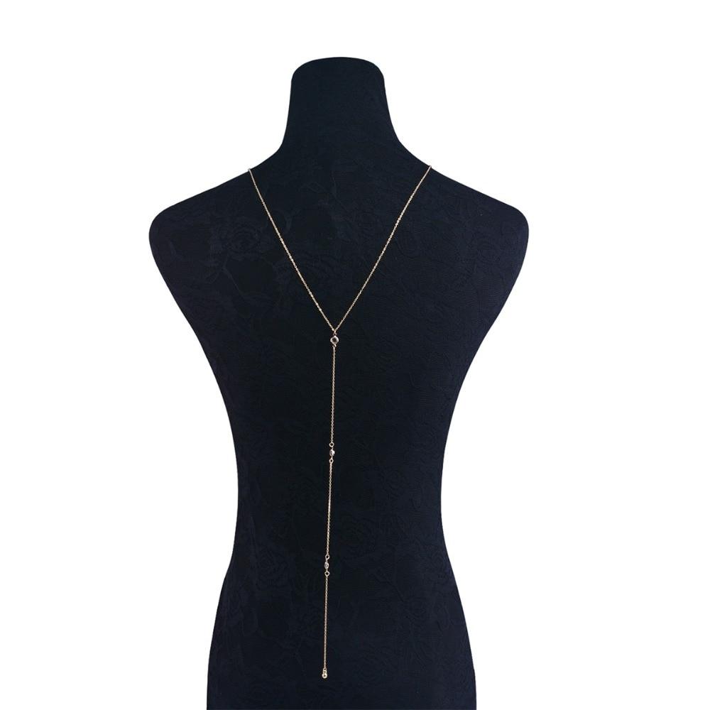 Boho kristály csupasz hátterű nyaklánc hosszú lánc medál - Divatékszer