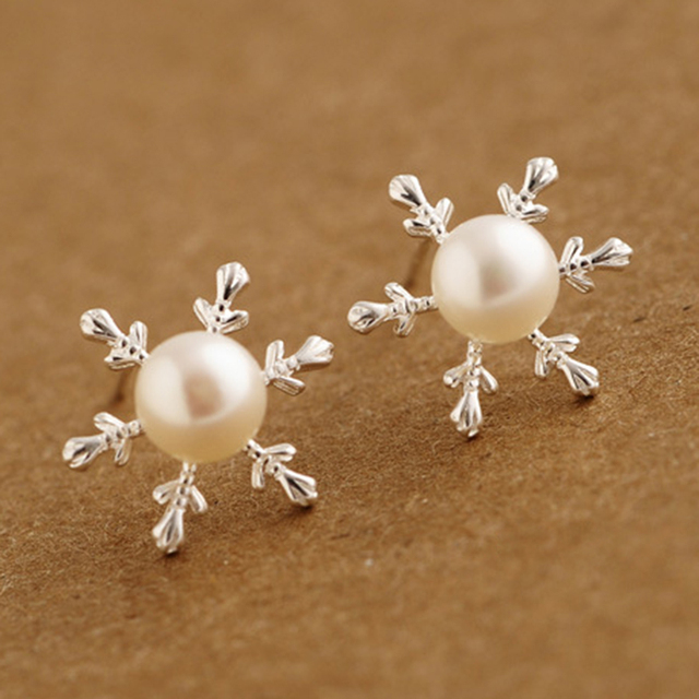 Quality Pearl Jewelry Real 925 Sterling Silver Flower Stud Earring for Women Wholesale