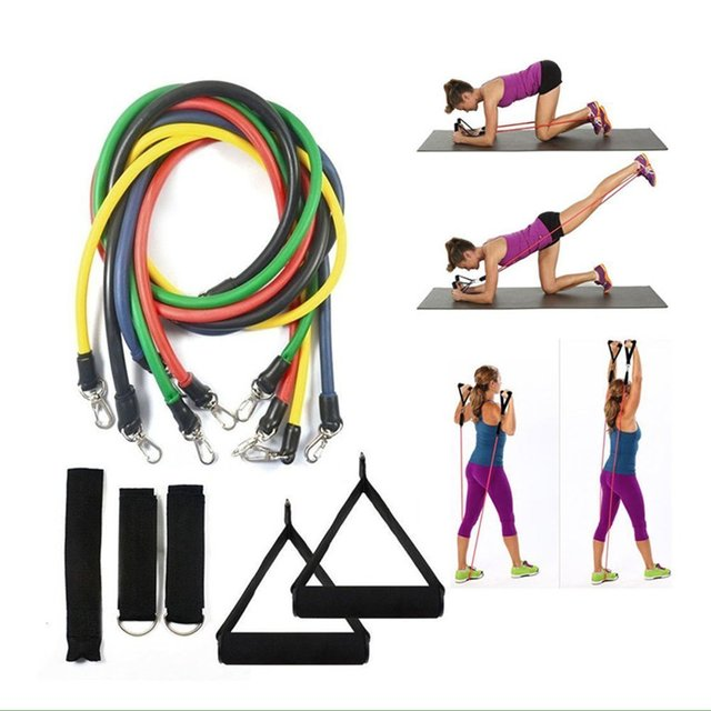 d2d4e8fcc6ae 11pcs set Pull Rope Fitness Exercises Resistance Bands gym equipment Latex  Tubes Pedal Excerciser Body Training Workout Yoga