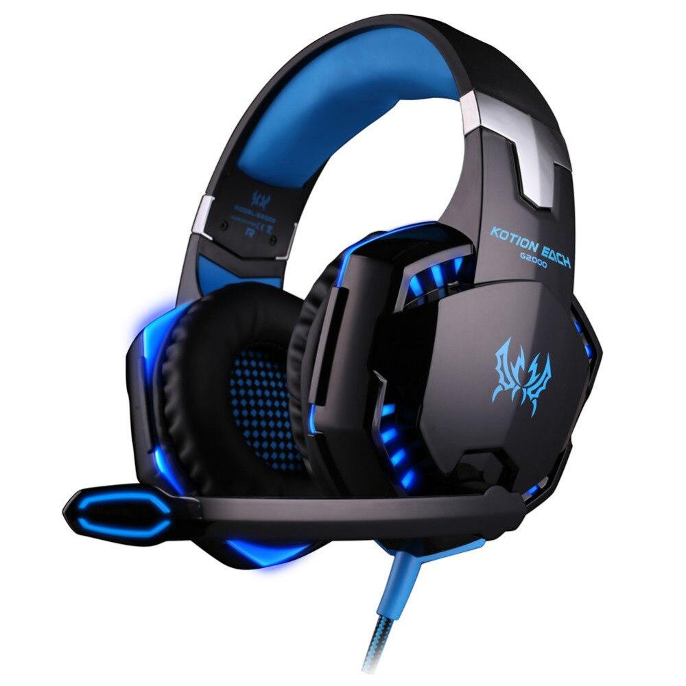 KOTION EACH G2000 Audifonos Over-ear Gaming Headsets Headphone USB Plug Earphone Headband with Mic Stereo Bass LED Light for PC