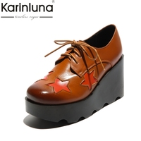 KARINLUNA Genuine Leather 2018 Size 34 39 Wedge High Heel Black Brown Lace Up Round Toe