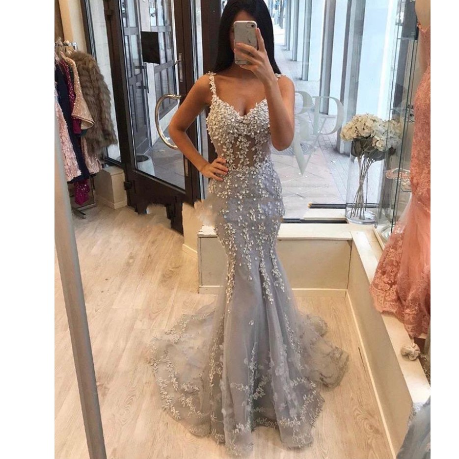 Party-Dress Light Beaded Evening-Dresses Robe-De-Soiree Modest Lace Mermaid Gray Long title=