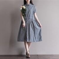Summer Dress Cotton Linen Loose Dress A Line Plaid Print Turn Down Collar Short Sleeve Women