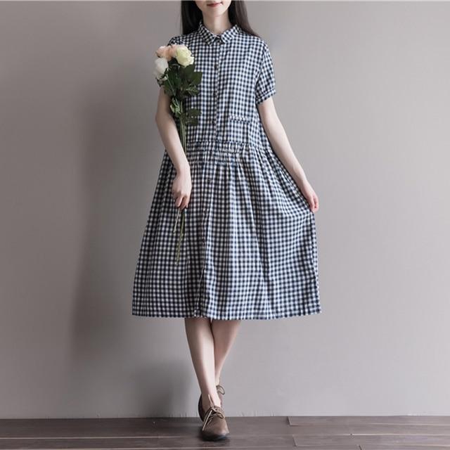 71427d08b9 Letnia Sukienka Kobiety Pościel Bawełniana Luźna Sukienka Linia Kratę  Sukienka Skręcić W Dół Kołnierz Krótki Rękaw