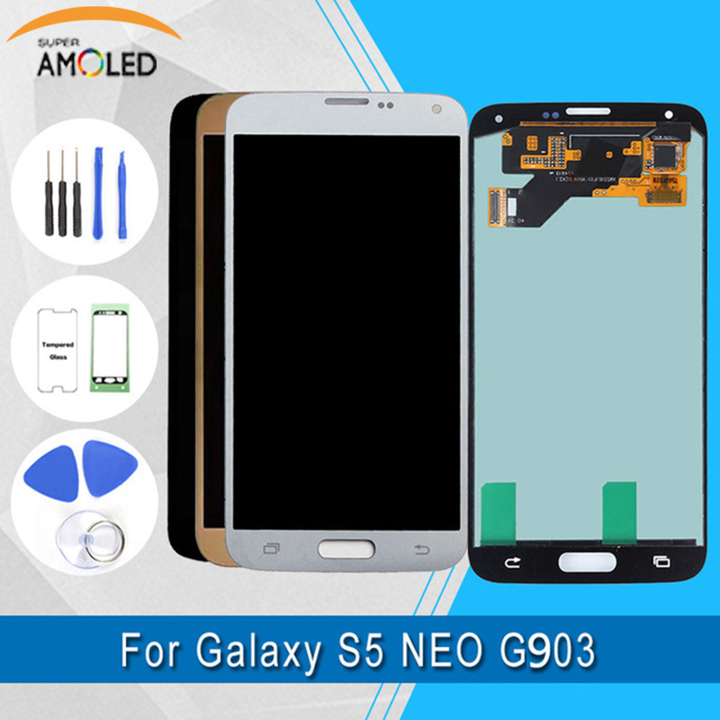 Super Amoled For Samsung Galaxy S5 NEO G903F LCD Display Touch Screen Digitizer Assembly +Tools +Tempered GlassSuper Amoled For Samsung Galaxy S5 NEO G903F LCD Display Touch Screen Digitizer Assembly +Tools +Tempered Glass