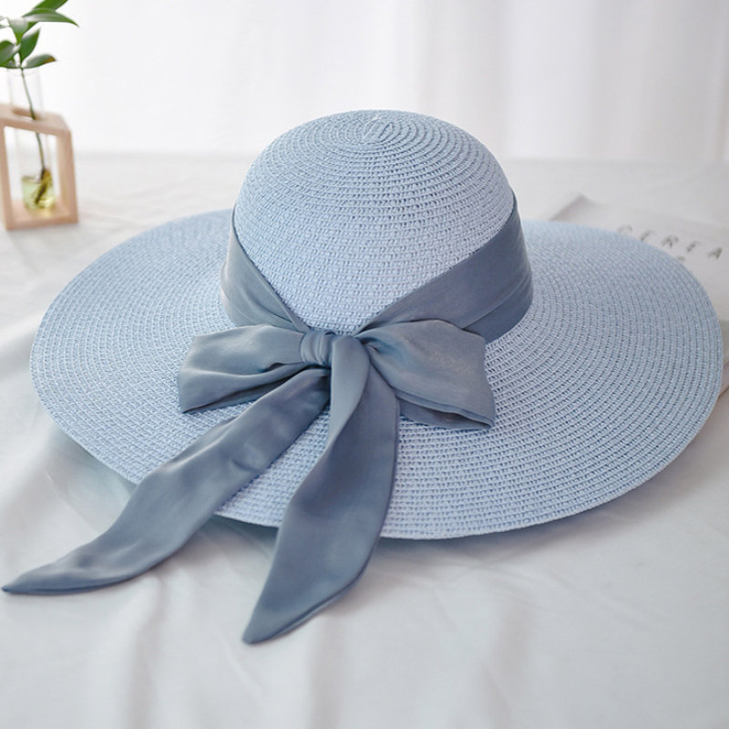 HT2259 Panama New Fashion Ladies Hats Beach Big Ribbon Bow Large Wide Brim Hat Women Summer Packable Floppy Beach Sun Hat Straw