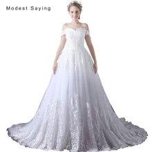 Elegant White Ball Gown Off Shoulder Applique Lace Wedding Dresses 2017 Formal Women Long Bridal Gowns vestido de noiva A031