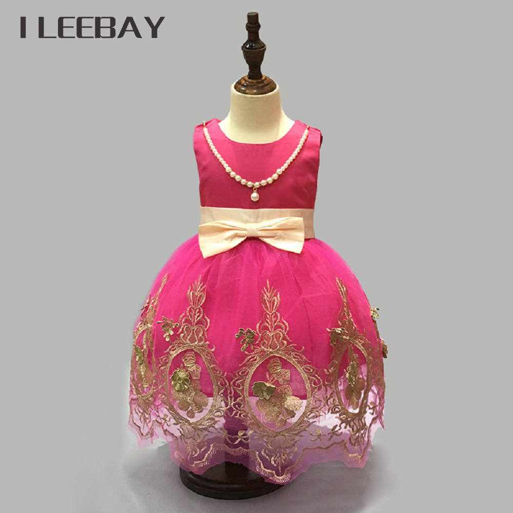 New Baby Girls Dress Brand Summer Style Floral Kids Beading Bow Party Dress Infant Elegant Retro Clothes Children Formal Costume new summer baby girls floral dress with cap european style designer bow children dresses kids clothes 3 8y