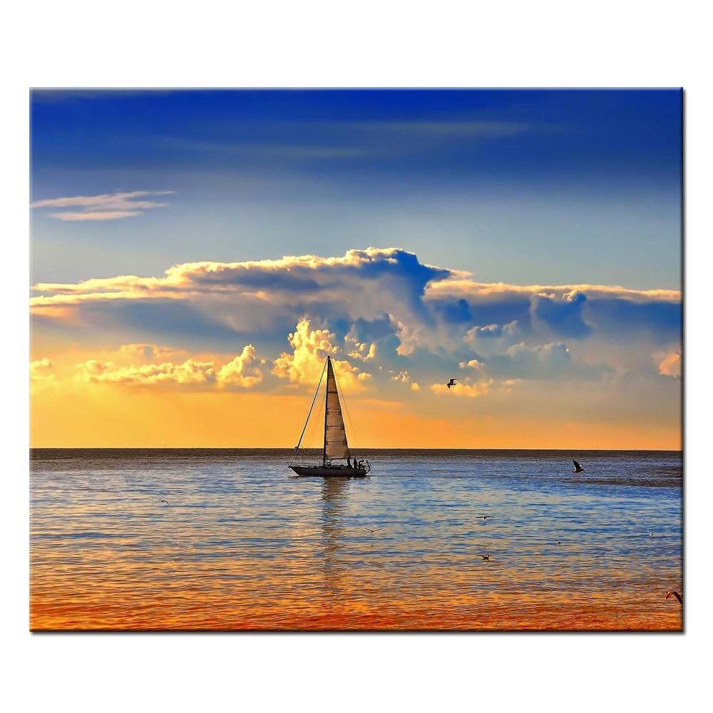 Kein Rahmen Meereslandschaft Segelboot ölgemäldedruck Poster ...