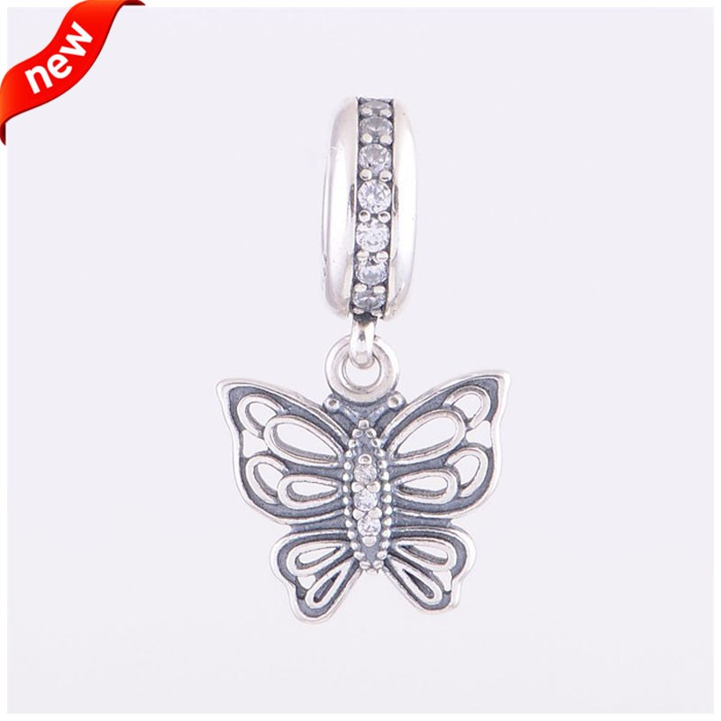 FANDOLA 925 Silver Jewelry Beads for Women DIY Bracelet Charms Silver Vintage Butterfly Pendent Charm Beads for Jewelry Making