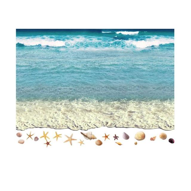 3d Pvc Flooring Custom Wall Sticker 3d Beach Sand Waves Surf
