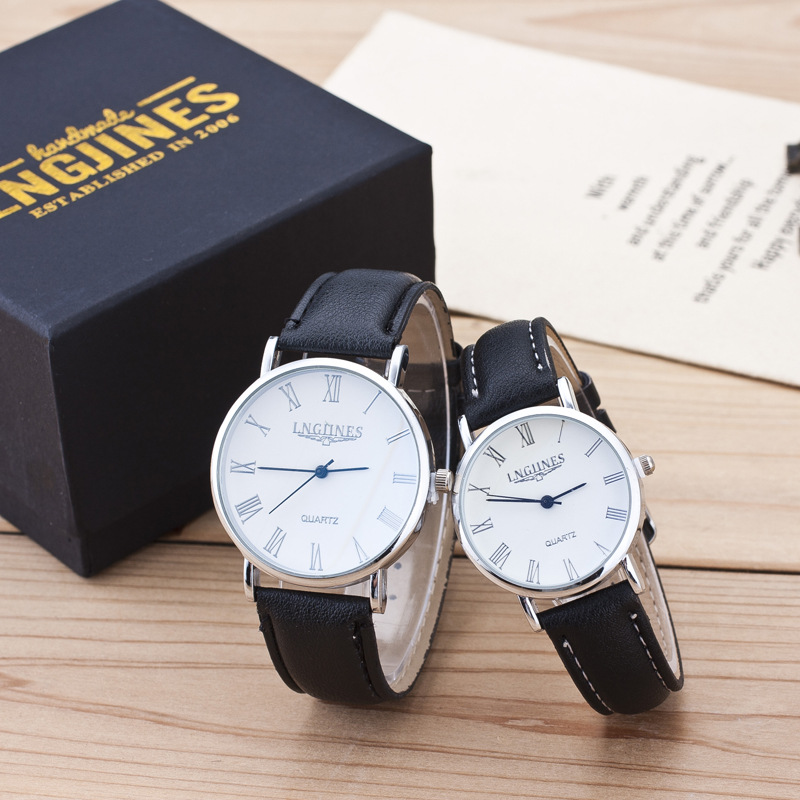2019 1 Pair Fashion Black Couple Watch Trend Men Women Casual Quartz Wrist Watch Love Student Lovers Clock Gift Relogio Masculin