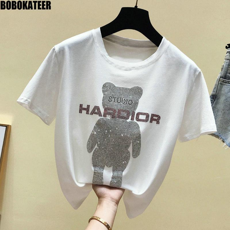 BOBOKATEER Fashion Female T-Shirt Cotton Kawaii White T Shirt Women Clothes Summer Tops Black Tee Shirt Short Sleeve New 2019
