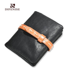 Difenise brand New design Luxury Mens Wallets Casual solid Lacing Close Short Vegetable tanned Leather Wallet ship with Gift Box