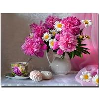 Pink Daisy Diamond Embroidery Chrysanthemum Flower Diamond Draw Full Diamond Stitch Flowers Series Pink Daisy Needlework