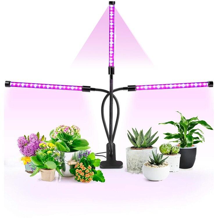 LED Grow Light 27W Flexible Red Bule Spectrum USB DC5V/ AC85-265V 3-heads Seedlings Potted Plant Bonsai Phyto Lamp Timer Dimming