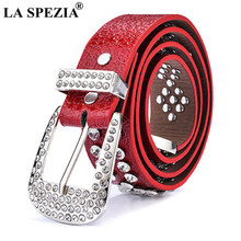 LA SPEZIA PU Leather Belt Women Red Pin Buckle Leather Belt For Jeans Female Fashion Rhinestone Luxury Ladies Waist Belts 110cm(China)