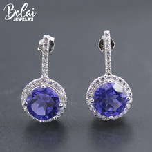 Bolai tanzanite stud earrings genuine 925 sterling silver created blue gemstone jewelry ear studs for women wedding earring 2019