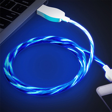 LED Flowing Glow Mobile Phone Cable Type C Micro USB Glowing Cord Luminous Data Sync Cables For Xiaomi MI 9 Bright Charge