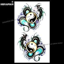 SHNAPIGN Yin Yang Taichi Dragon Temporary Tattoo Body Art Flash Tattoo Stickers 17x10cm Waterproof Fake Car Styling Wall Sticker