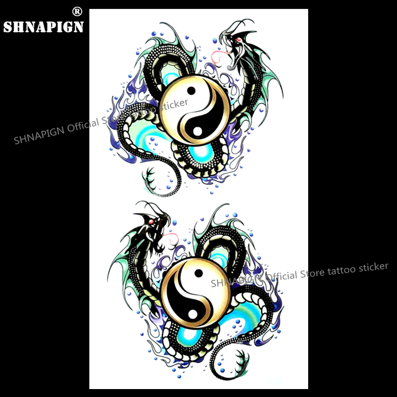 Yin Yang Taichi Dragon Temporary Tattoo Body Art Flash Tattoo Stickers 17*10cm Waterproof Fake Tatoo Car Styling Wall Sticker super bowl ring 2019