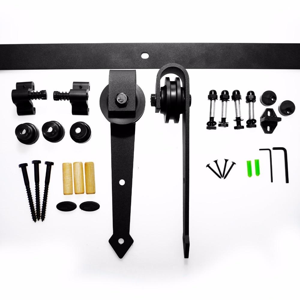 Купить с кэшбэком LWZH Industrial Style Sliding Barn Door Steel Hardware Kit Closet Track Set Black Arrow Shaped Hangers for 10FT/11FT Single Door
