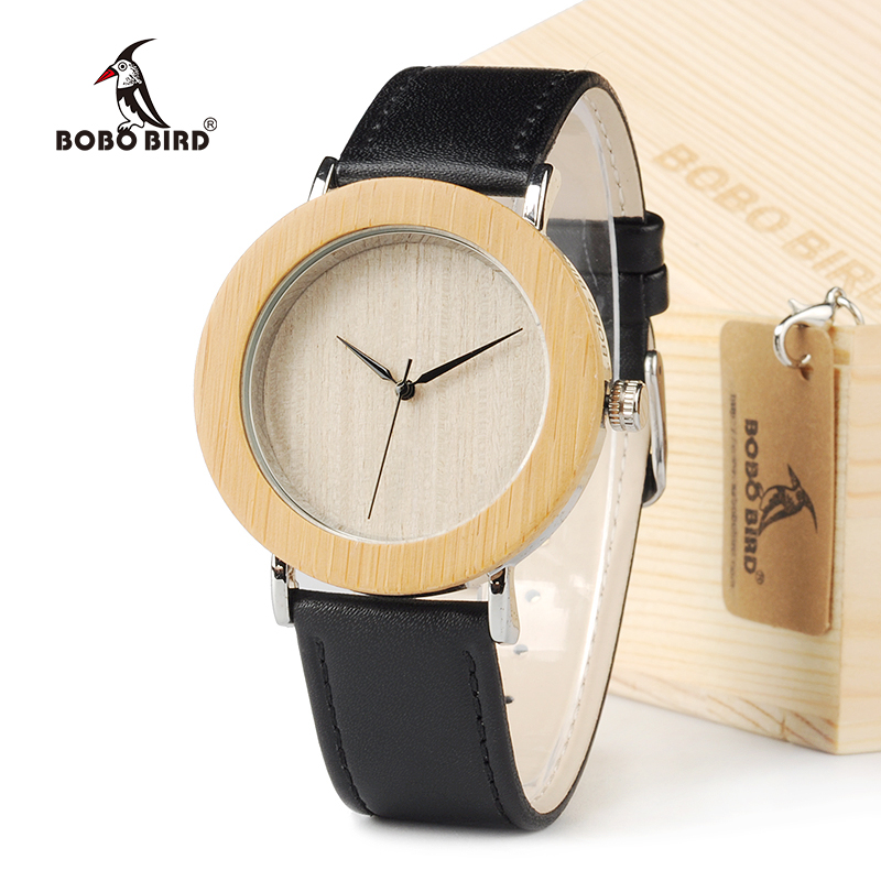 BOBO BIRD Fashion 2016 Men's Bamboo Wooden Watches With Genuine Cowhide Leather Band Luxury Wood Watches for Men Best Gifts fashion new antique genuine cowhide leather band lovers luxury watches zebra wood bamboo wristwatch for women as best gifts