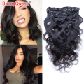 7A Brazilian Virgin Hair Clip In Human Hair Extensions 7pcs Body Wave Clip In Hair Extensions 120G Human Hair Clip In Extensions