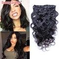 7A brasileño de la virgen del pelo Clip en extensiones de cabello humano 7 unids onda del cuerpo Clip en extensiones de cabello 120 G del pelo humano Clip en extensiones de cabello