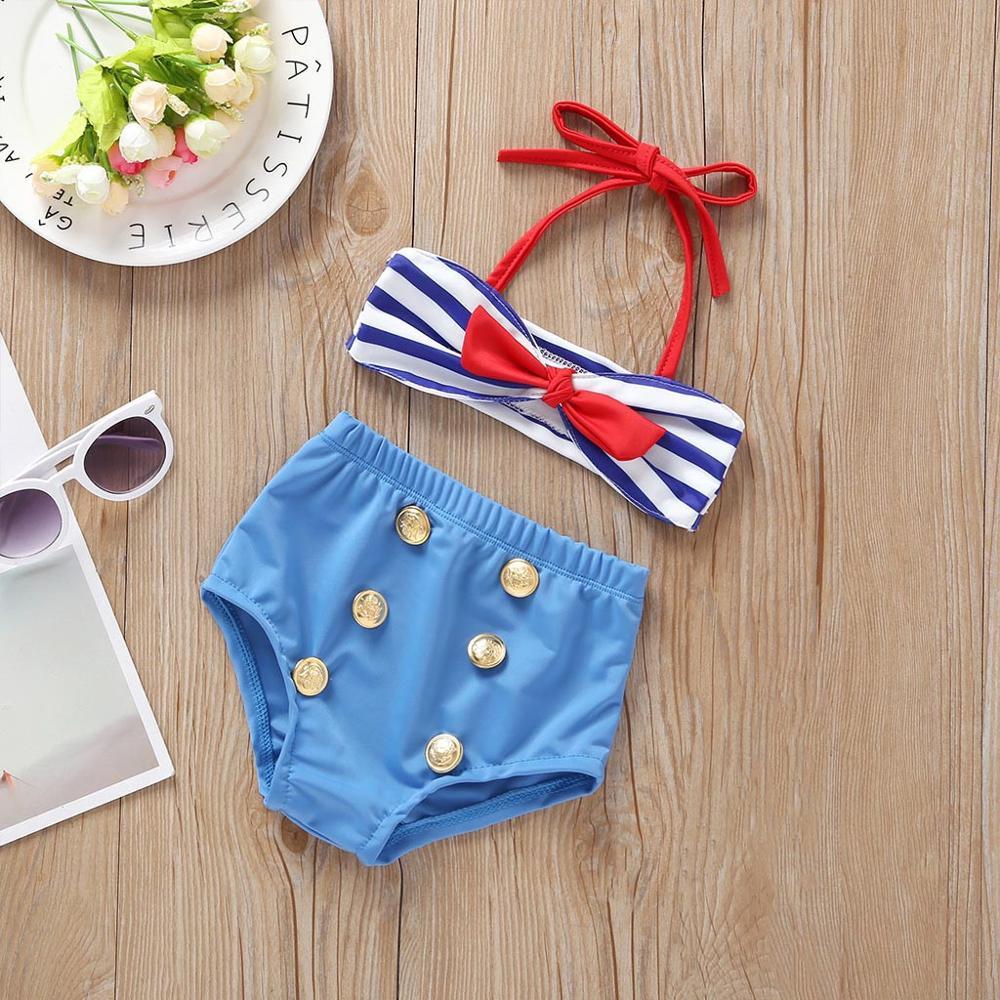 2019 Baby Kids Girl Two Piece Swimsuit Summer Child Swimwear Swimsuit Bikini Set Outfits Sleeveless Striped Print Sling A1