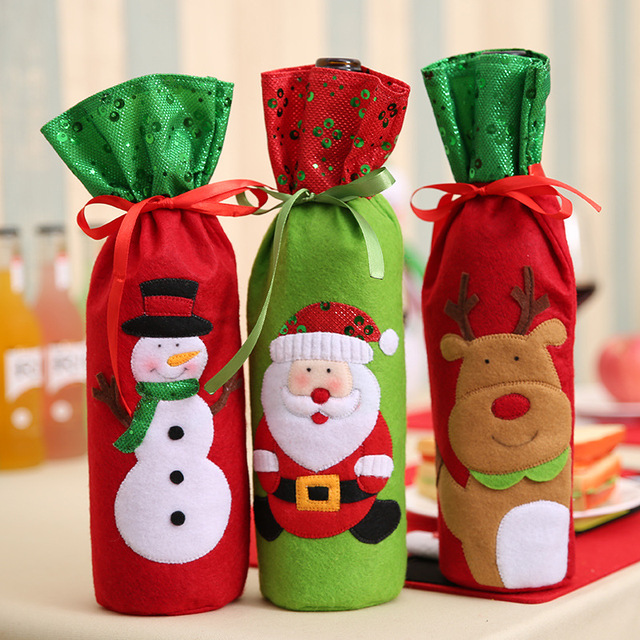 Christmas Decorations Santa Claus Wine Bottle Bags Snowman Gifts Champagne Sequins Holders Xmas Home Dinner Party Table Decors