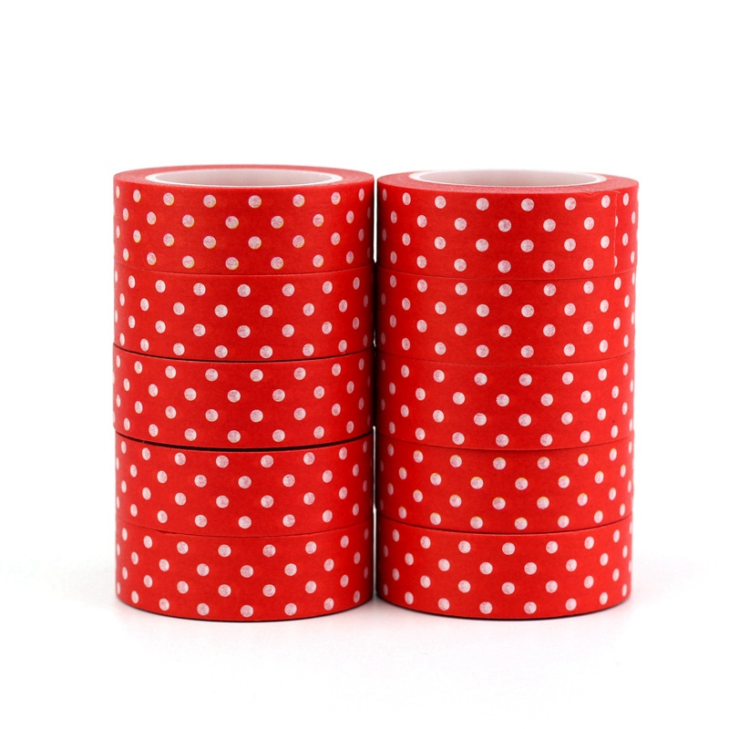 10pcs/lot Christmas Red Dots Washi Tapes DIY Decorative Scrapbooking Planner Adhesive Masking Tape 1.5cmx10M Kawaii Stationery