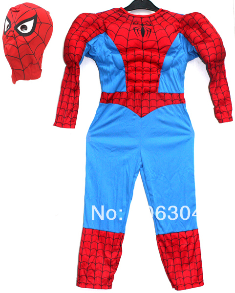 Free shipping ,children muscle spiderman costume clothing halloween dress up costume birthday party gift for 2-12 years old kid
