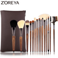 Zoreya Brand 15pcs Walnut Synthetic Hair Makeup Brushes Lip Liner Foundation Concealer Make Up Brushes Tools