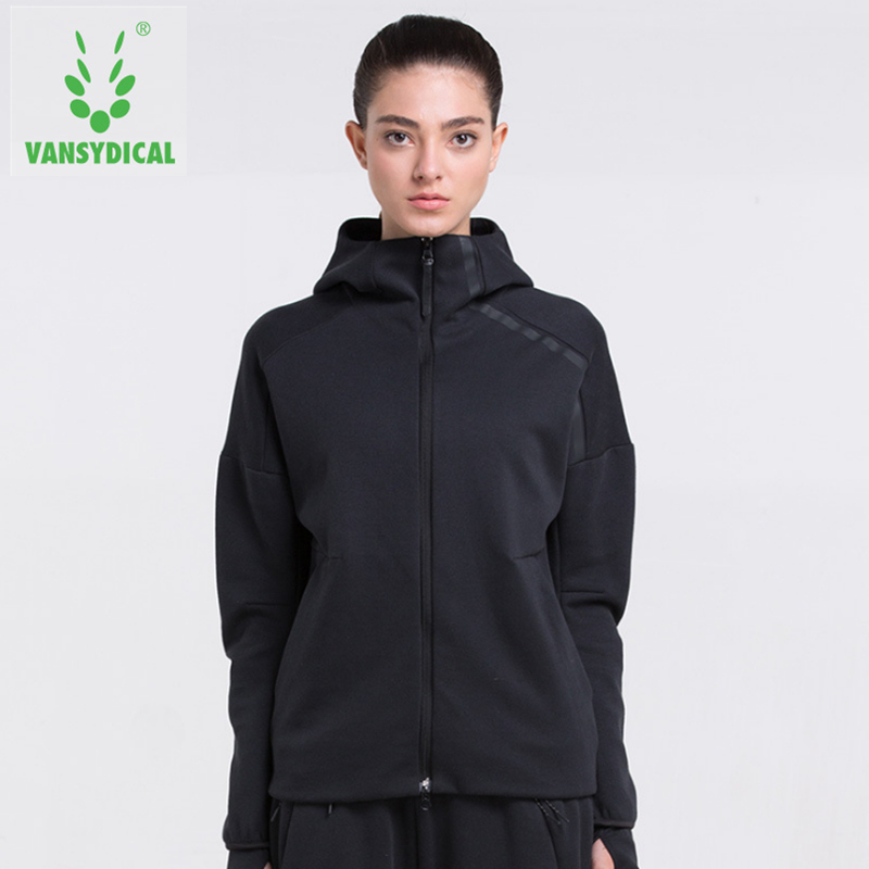 Vansydical Winter Sports Running Jacket Women's Fitness Sportswear Cotton Zipper Hooded Breathable Training Windproof Outerwear