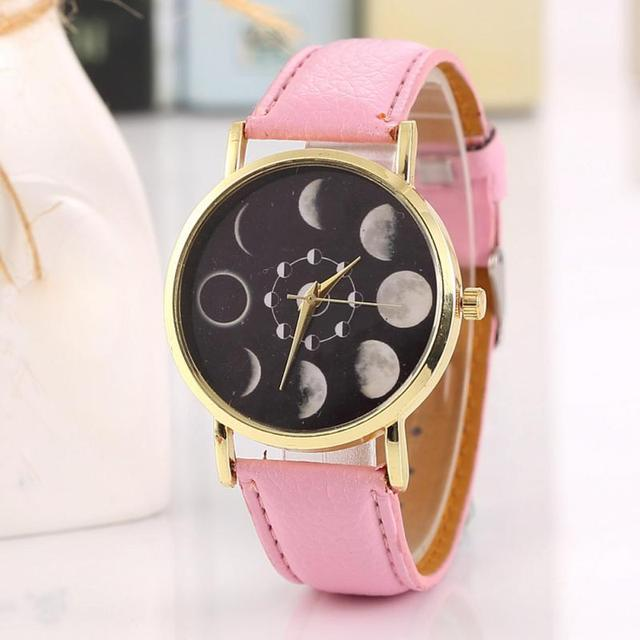 Daily Waterproof Female Solar Moon Phase Lunar Eclipse Watch Women Stylish Quart