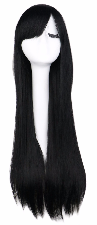 Qqxcaiw длинные прямые Косплэй парик черный фиолетовый розовый синий Щепка серый блондинка белый оранжевый коричневый 80 см Синтетические волосы Искусственные парики