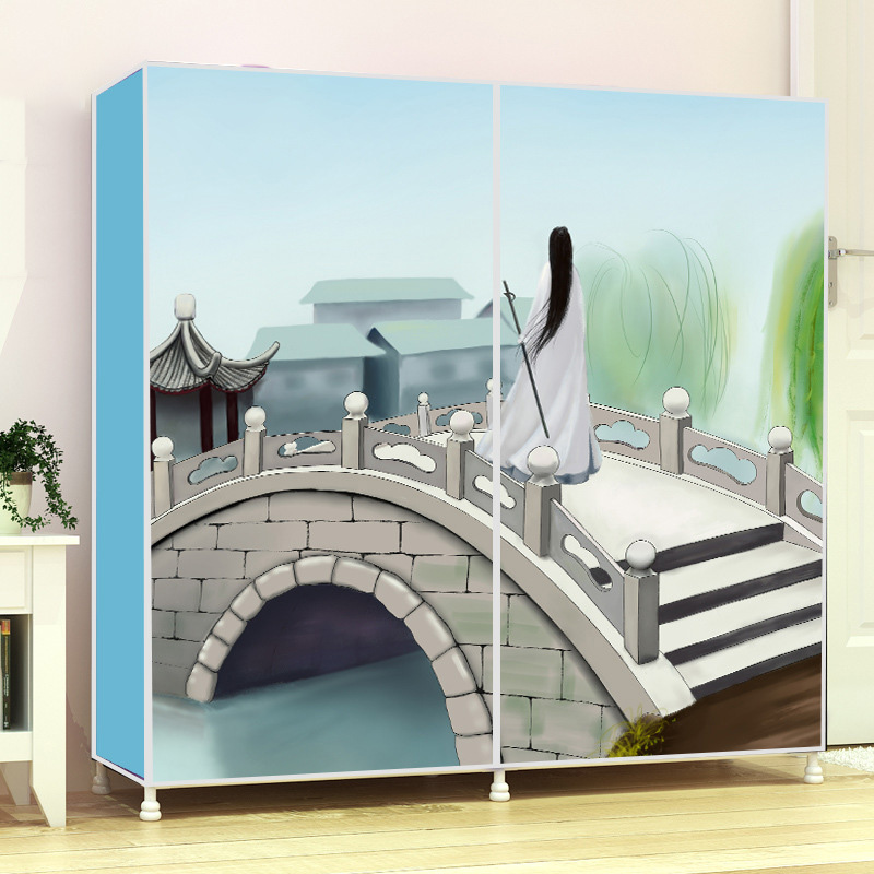 Double row shoes cabinet fashion painting Non-woven fabrics large shoe rack organizer removable shoe storage for home furniture