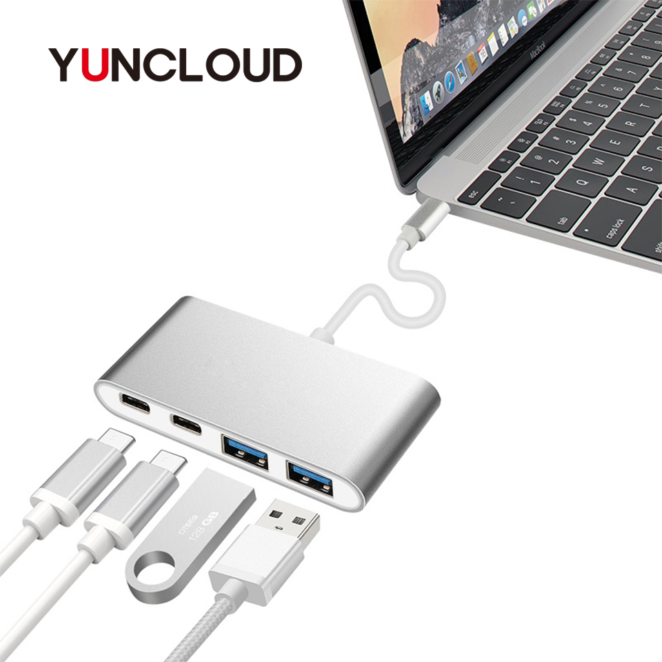 YUNCLOUD USB Type-C 3.1 Hub to Type C Power Delivery Type C 3.0 MultiPort Adapter with 2 Port High Speed USB 3.0 Hub For Macbook high quality 5v20a usb 2 0 hub usb hub 20 port with power adapter with huawei e220 3g modem