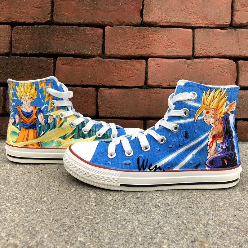 Wen Hot Anime Hand Painted Shoes Design Custom Dragon Ball Men Women's High Top Canvas Sneakers for Presents mens converse shoes custom hand painted hunger game high top black canvas sneakers unique presents