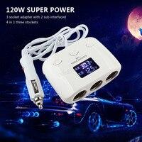 3 Way 120 W Auto Samochód Gniazda Zapalniczki Splitter 2 Ładowarka Samochodowa Dual USB Power Converter Adapter Obsługuje Automatycznego Zasilania off