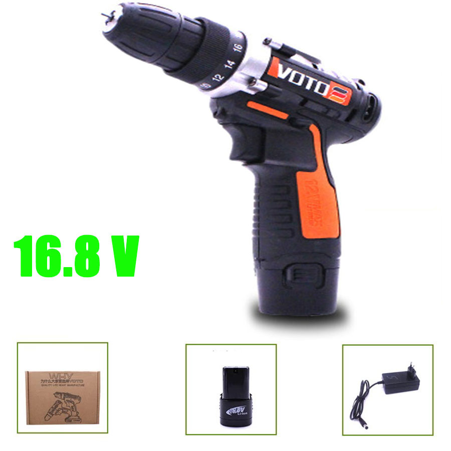 VOTO Battery Rechargeable Cordless Drill Electric Screwdriver Set Lithium Power Tools Screw Gun Driver Industry Orange 16.8 V VT