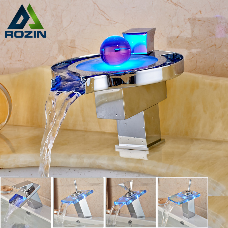 LED RGB Colors Basin Sink Faucet Deck Mount Waterfall Brass Bathroom Vessel Sink Mixer Tap Chrome Finish good quality waterfall spout basin vessel sink faucet deck mount golen brass hot cold mixer tap for bathroom