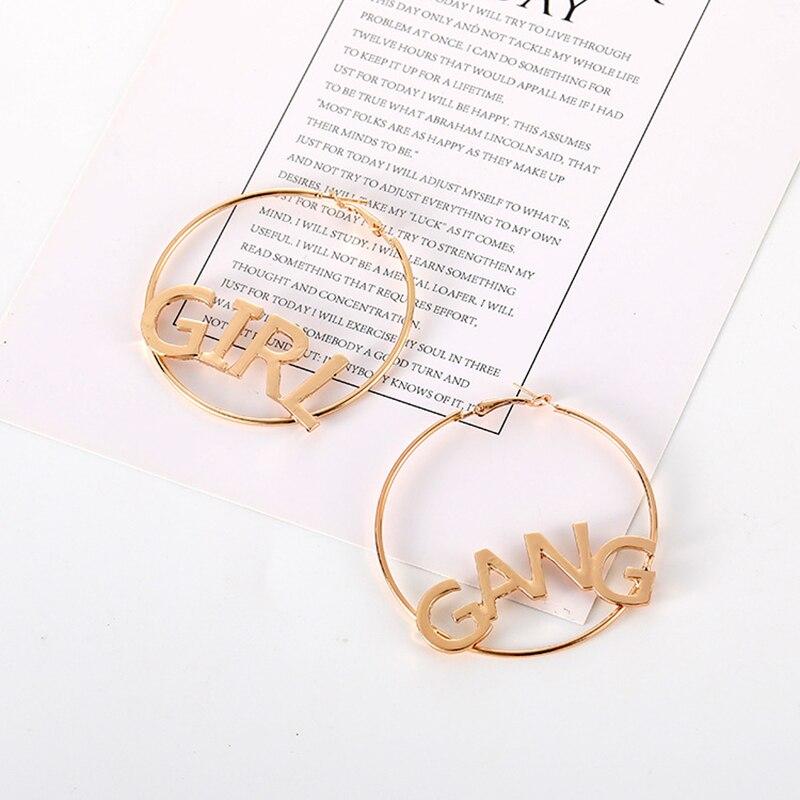52af690c6922f GeYiOu Fashion Modern Letter Earrings GIRL GANG Creative Earrings Hollow  Asymmetry Big Hoop Earring Jewelry for Women Gift-in Hoop Earrings from  Jewelry ...