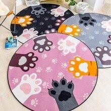 Cute kitty patas em forma redonda carpet, 150*150 centímetros kitty sala carpet, tapete de cabeceira, crianças decoração do quarto carpet