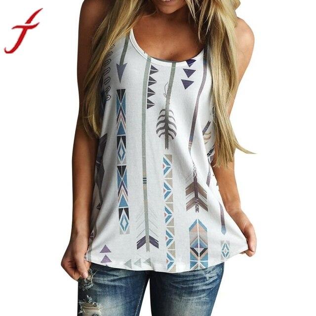 4867f6f2ec0d1d Tank Tops Arrow Printing Women Sleeveless Shirt Blouses Casual O Neck Tank  Tops T-Shirt White Vest Top
