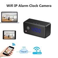 Cámara del reloj de mesa alarma configuración 720 p HD H.264 mini cámara de visión nocturna ir cámara IP WiFi reloj de la cámara mini DV DVR videocámara Cámara wifi