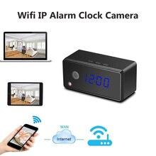 Câmera Relógio de mesa de Alarme Configuração 720 P HD H.264 Mini Câmera IR Relógio Da Câmera de Visão noturna IP Wifi Mini DV Camcorder DVR Wi-fi Cam