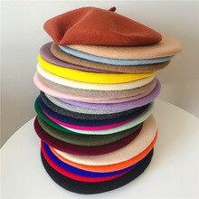 New Felt Wool Solid Color Beret Caps Female Bonnet Women caps Lady Painter All M