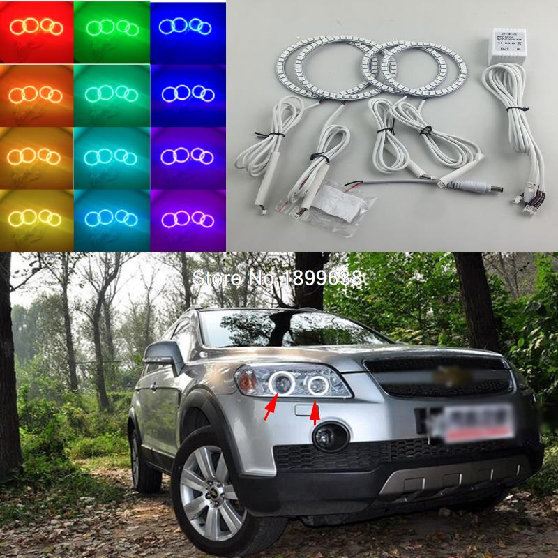 Super bright 7 color RGB LED Angel Eyes Kit with a remote control car styling for CHEVROLET CAPTIVA S3X 2006 to 2011 2pcs super bright rgb led headlight halo angel demon eyes kit with a remote control car styling for ford mustang 2010 2012